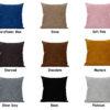 Colour choices for cushion back.