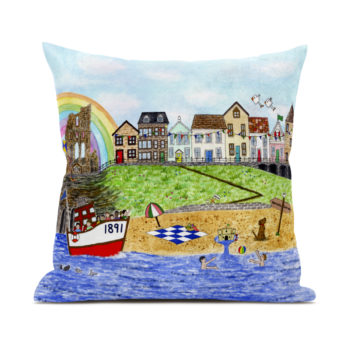 Cushion featuring Tynemouth Design by Zoe Emma Scott