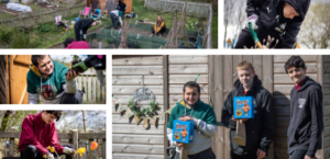 Five images depicting young people allotment gardening and holding Easter Eggs