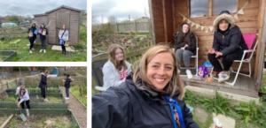 Three images of Young people from our Girls Group enjoying our allotment